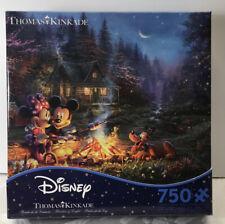 NEW Disney Thomas Kinkade Mickey and Minnie Sweetheart Campfire 750 Pc Puzzle