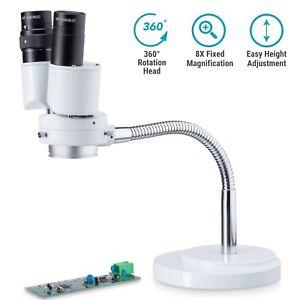 AmScope 8x Binocular Stereo Microscope on Rotatable Gooseneck Arm