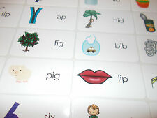 Letter 'I' CVC Picture and Word Laminated Flashcards.  Preschool-1st Grade ELA