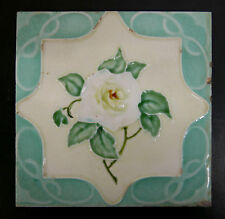 Richards England Art Nouveau Antique Tile White Rose