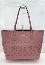 NWT Coach F28973 Leather City Tote Handbag Floral Perforated Vintage Pink $425