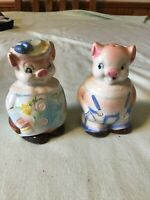 Vintage Mr. & Mrs. Pig In Overalls & Hats  Salt and Pepper Shakers