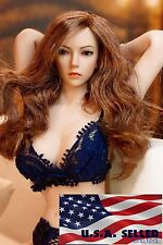 "1/6 Female Head sculpt Long Curly Hair For 12"" Hot Toys Phicen Pale Figure ❶USA❶"