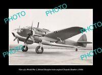 OLD LARGE HISTORIC AVIATION PHOTO, WWII BRISTOL BEAUFORT TORPEDO BOMBER c1940