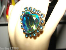 BETSEY JOHNSON RING LARGE HEART CRYSTAL SZ 7 NWOT EXTREMELY RARE & HTF!!