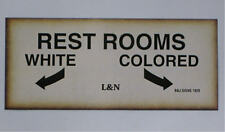 BLACK SEGREGATION SIGN L&N RAILROAD REST ROOMS