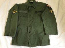 US ARMY KOREA VIETNAM COTTON FATIGUE SHIRT OG-107 PATCHES 6th CAVALRY SPEC 5