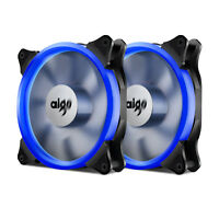 2x Aigo Blue Ring LED 140mm PC CPU Computer Case Cooling Clear Silent Fan Mod
