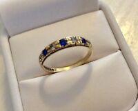 Lovely Ladies Vintage Full Hallmarked 9CT Gold Blue & White Stone Dress Ring