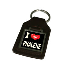I Love My Dog Engraved Leather Keyring Phalène