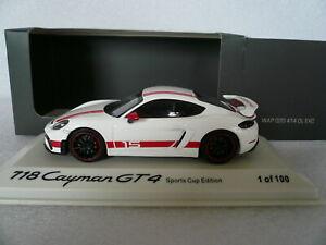 Porsche 718 Cayman GT4 Sports Cup Edition, Promo, nur 100 pcs., weiß, 1:43, OVP