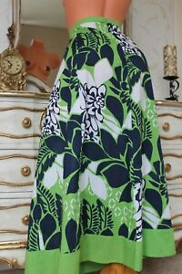 ( Ref 19) NEXT Green Mix 100% Cotton A line Ladies Full Length Skirt Size 12