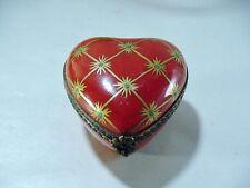 "Beautiful Signed ""Peint Main"", Limoges Heart Shaped Trinket Box - Golden Stars"