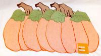 Kohls Celebrate Fall Orange Pumpkin Placemats 14x15 in Set 4 NWT