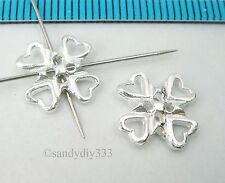 2x STERLING SILVER HEART FLOWER SPACER CONNECTOR BEAD 11.5mm N594E
