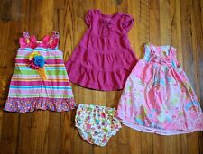 Lot of 4 Baby Girl Spring/Summer Dresses Pink 18 Mos Youngland Chelseas Corner *