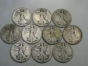 10 Low Grade 1919-p&s Walking LIBERTY Half Dollars.  #4