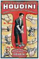 Vintage Harry Houdini Magician Escape Artist Magic Poster Print