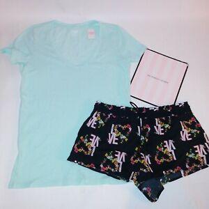 Victoria Secret Pajama Set Top & Bottom T Shirt Shorts Blue Black Logo Sleepwear