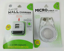 Dual USB Wall Charger With Micro USB 4ft Cable