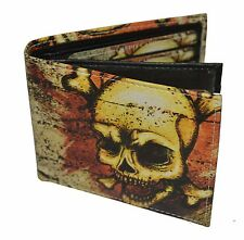Mens Bifold Exotic Wallet Picture SKULL with a printed gift box.