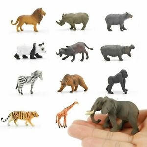 12X Wildlife Zoo Animals Lion Panda Elephant Tiger Giraffe Model Figure Kids Toy