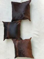 Set of 3 Cowhide Cushion Covers Exotic Brown 16x16 in Pure Cow Skin Leather
