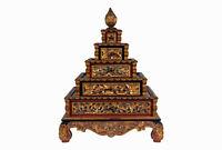 Antico Asiatico Fünfstufig Intagliato Buddista Temple Stupa Armadio