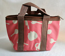 Carry Bag for Bento Box Pink Insulated Zip Aluminum Lining Thermal Lunch Cooler