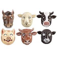 6 Farm Animal Plastic Childrens Face Masks - Fun Fancy Dress Masks