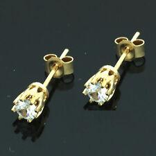 9 carati oro giallo REX Claw Set BIANCO C / Z Orecchini-UK Fatto
