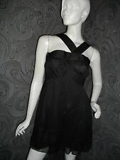 AMAZING NEW + TAGS * LEON MAX * 100% SILK FLOATY LBT BLACK  DRESS SIZE M 12 - 14
