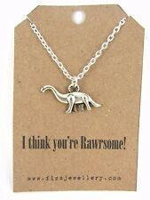 """""""I think you're Rawrsome!"""" Quirky Dinosaur Silver Necklace Message Gift New"""