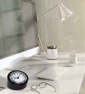 Citizen Desk Clock Analog Black Silver Crystal CC1005 Bold Angled New In Box