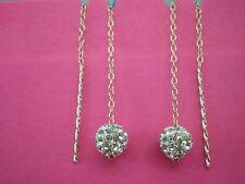 9ct Gold .375 Pull Through Shamballa Crystal Drop Dangle Stud Earrings
