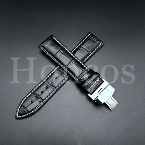 21MM GENUINE LEATHER WATCH BAND STRAP FOR ORIENT BAMBINO FAC00005W WATCH BLACK