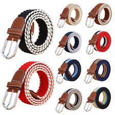 "Women Stretch Belt Braided Elastic Woven Canvas PU Leather Buckle Waistband 1.4"""