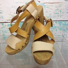 Sanita Tan Nude Leather Platform Wood Sandals Heels Womens 8.5 9 EUR 39 Shoes