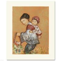 "Edna Hibel ""The Fruit Seller"" Hand Signed Limited Edition Lithograph Art"