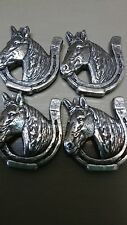 """Lucky Horse with Horshoe Lot of 4 Conchos with Screws 1 1/8"""" Wide"""