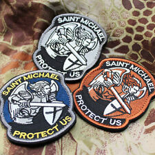 SAINT MICHAEL PROTECT US Embroidered Iron on Patches Military Army Sword Morale