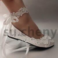 su.cheny light ivory white satin lace flat ballet Wedding shoes Bridal size 5-12