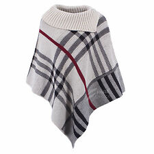 D&D Womens Knitted Checked/Faux Fur Lined Hood Wool Broach Fasten Checked PONCHO