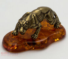 Solid Brass Amber Figurine of Cheetah Totem talisman IronWork