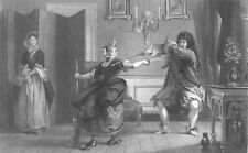 POOFY GAY FRENCH Arisocrat & MAID SPAR DUEL w SWORDS ~ 1864 Art Print Engraving