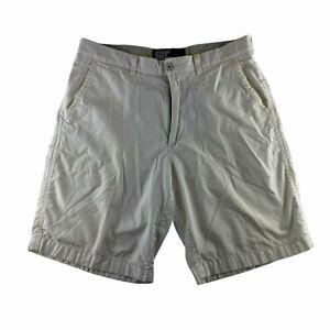 American Eagle Men's Size 32 Chino Shorts White Flat Front 100% Cotton
