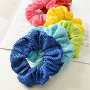 2PCS Cotton Solid Scrunchie Elastic Hair Ties Ponytail Hair Ring Hair Accessory