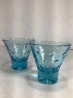 "Set Of 2~vintage Hazel Atlas 4oz Aqua Turquoise Capri Dot 3"" Glasses"