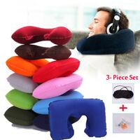 Inflatable Flight Neck U Pillow Portable Rest Air Cushion Eye Mask Head Cushion
