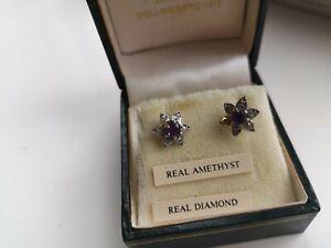 Gold Amethyst  &  Diamond Earrings Delicate Daisy Flower Shape never been worn